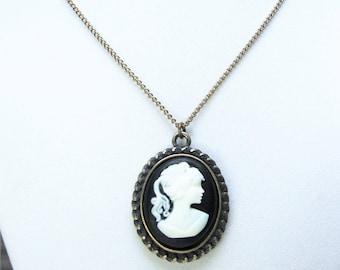 Victorian Girl Cameo Necklace; cameo necklace, cameo jewelry, victorian necklace, antique victorian necklace, victorian jewelry