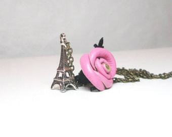 Pink Leather Rose Eiffel Tower Paris  French Jewelry  Charm  Shabby Chic Necklace