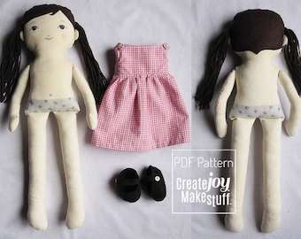 """18"""" Dress Up Doll Sewing Pattern with dress and shoes - Tutorial - cloth - fabric- rag doll"""