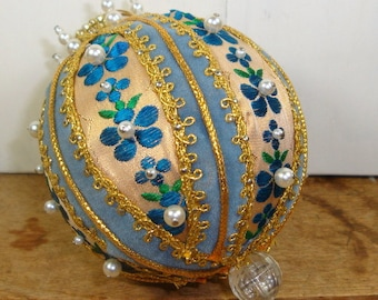 Beautiful Vintage Christmas Ornament, Handcrafted ,Blue Flowers, Gold, 1970's Retro  (545-14)