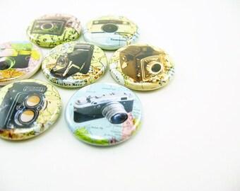 7 Camera Magnets, photography fridge magnets, maps, travel, refrigerator magnets, vintage cameras,  magnabilities 1122