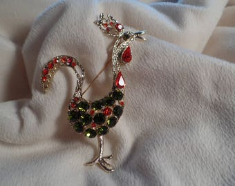 Colorful 1960's Rooster Brooch