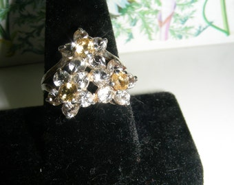 Genuine White Topaz and Citrines Flower Bouquet Sterling Silver ring