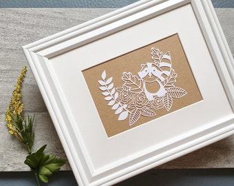 Handcut Raccoon Paper Art, Papercut Nursery Decor, Wall Art, Papercutting, Home Decor, Newborn Gift, Mounted and Matted Available