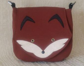 Foxy Saddlebag Crossbody Purse, Natural Fabric Purse, Fox Purse, Handbag, Cotton Crossbody