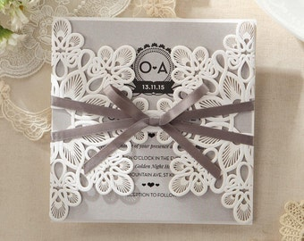 Floral Laser Cut Wrap Wedding Invitation, Delicate Bow - IWP14035-SV