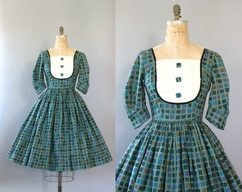 Vintage 50s Dress/ 1950s Cotton Dress/ Candy Jones Green Geometric Print Sundress w/ Puff Sleeves S