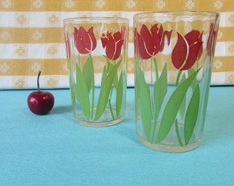 Vintage Swanky Swigs Juice Glasses - Tulips - Set of 2 - More Available - Pristine - Hazel Atlas - Mid Century 1940's