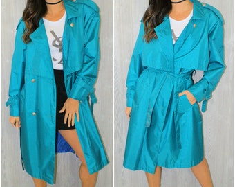 Teal Blue Trench Coat Rain Jacket Double Breasted Size 10 Vintage 90's Retro Spring Summer Rainy Day Waterproof Boho Tiered