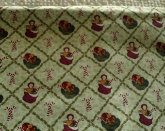 Cotton Quilt Fabric Christmas Raggedy Ann Stockings & Candy Canes on Cream