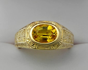 AAAA   Yellow Sapphire  9x7mm 2.40 Carats Heavy 14K Yellow gold Antique Vintage styled MAN'S ring 15 grams. 1779a