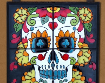 Day of the Dead Tile Mural Marigold Man