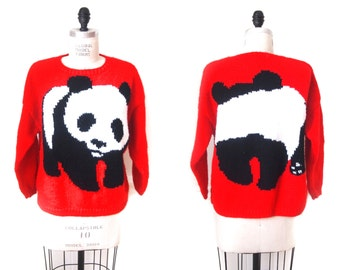 vintage 80s red panda sweater
