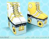 yellow roller skates - favor boxes fit gift cards, candy, cookies and more party printable PDF kit - INSTANT download