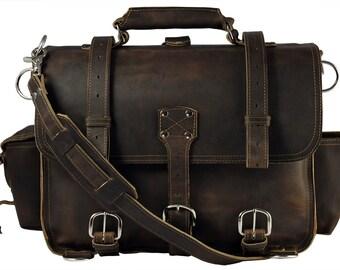 Hergestellt in USA Leder Aktentasche Messenger Tasche Rucksack groß - reiche Schokolade braun beunruhigt, robust
