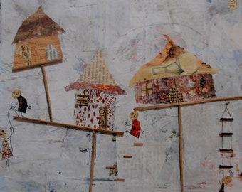Perched, houses, balance, mixed media, square, original artwork, characters, village