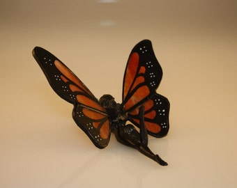 Nude Stained Glass Fairy Monarch Butterfly Hand-Painted Figurine - Made to Order (MON012)