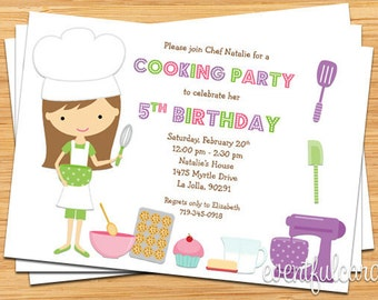 Kids Baking Birthday Party Invitation - Printable