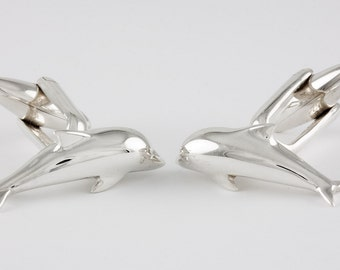 Dolphin Cufflinks, Sterling Silver, personalized
