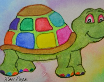 Original ACEO Watercolor Painting - Rainbow Turtle - Pen and Ink Art
