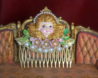 Baroque Vivid Hand Painted Cherub Angel Crystal Hair Comb