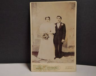 Antique Victorian photograph man and woman Victorian cabinet card wedding  couple
