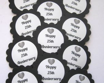 25th Wedding Anniversary Cupcake Toppers/Party Picks   Item #1712