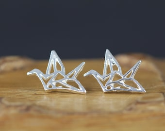 Sterling Silver Origami Paper Crane Earrings - Origami Post Earrings - 925 Sterling Silver Paper Crane Studs - Good Luck Jewelry