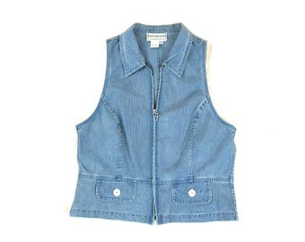 90's zipper chambray denim jean vest light weight wash medium karin stevens