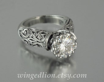 The ENCHANTED PRINCESS Moissanite 14K gold engagement ring