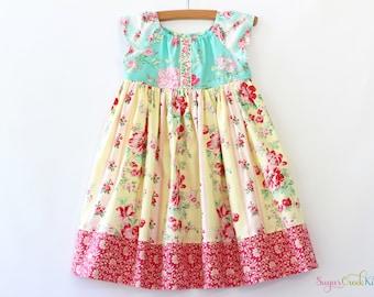 Emma Floral Dress, Spring Easter Dress, Vintage Floral Dress for Girls Sizes 12-18mo, 2T, 3/4T, 5/6, 7/8