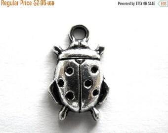 HALF PRICE 6 Silver Ladybug Charms - 18mm