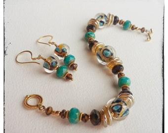UNTAMED - Artisan Lampwork Glass Beads and 24K Vermeil Gold Bracelet and Earrings Set Ensemble