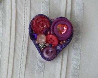 Button Heart Pin - Purple