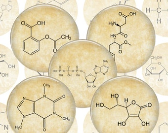 Organic Chemistry Molecules Digital Collage Sheet - 1.5 inch 38mm 1 inch 25mm Circles Printable Download
