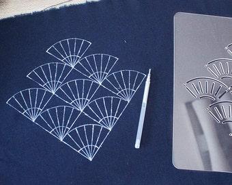Sashiko  Stencil By Acrylic -Sashiko Embroidery  Pattern -Templates Quilting Stencil  | fan-shaped