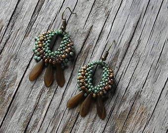 Déclaration perlé boucles d'oreilles - bijoux - ronde Dangles - BOHO en tissage