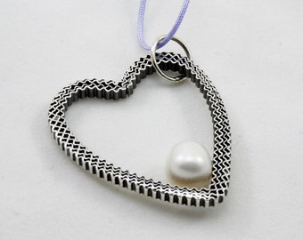 20% OFFPearl Heart Silver Pendant, silver 925, sterling silver, handmade, oxidized, shiny finish, white natural pearl,elegant jewelry,unique