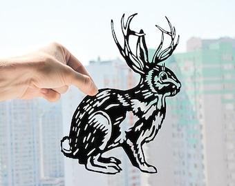 Rabbit Wall Art- Bunny Wall Art- Hare Art- Rabbit with Antlers- Paper Cut Art- Forest Animal Art- Monochrome Art- Scandinavian Nursery Art