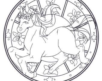 Colouring page - flowery pony