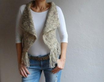 Boho Vest,Knit Vest Sweater, Sleeevless Vest, Fringe Vest in Blended Brown Cream, Winter Accessories, Christmas Gift