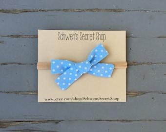 Blue baby bow, fabric bow headband, hand tied bow, baby girl bow, nylon headband, school girl bow, baby headband, baby hair bow