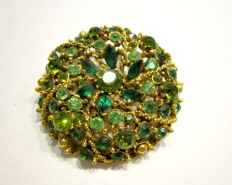 Vintage Designer Weiss Rhinestone Brooch Green Vintage Jewelry Pin Gift for Mom Gift for Her Genuine Vintage Weiss