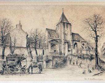 1 Vintage engraving, print, vintage papers, old church