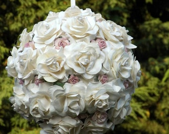 Flower girl pomander, kissing ball, wedding pomander, pew end, any colour way