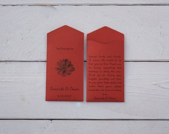 Succulent Let Love Grow Burnt Orange Custom Seed Packet - Personalized Wedding Favor Seed Envelopes - Bridal Shower - Many Colors Available