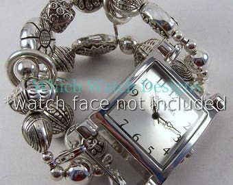 Small Silver.. Silver Plated Bead Watch Band, Interchangeable, Removable, Stretchy, Double Strand