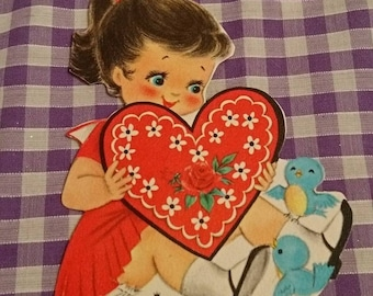 Vintage Hallmark Valentines card / greetings card c 1940s / 1950s bluebirds heart unused - send / collectable / papercrafts / cardmaking