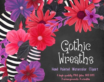 watercolor wreath clipart, gothic flowers clip art, florals for invites handpainted, watercolor wedding graphics, goth red black and purple