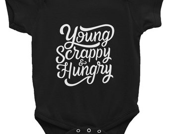 Young Scrappy & Hungry (Unshaded Logo) Short-Sleeve Baby One-piece Inspired by Hamilton